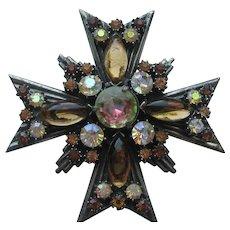 Vintage Florenza Maltese Cross Pendent Pin Brooch