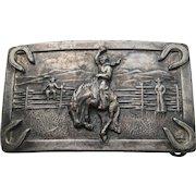 Vintage COWBOY Belt Buckle German Silver Brass Western