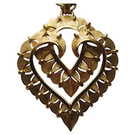 Vintage Crown Trifari DOUBLE HEART Heavy Gold Plated Chain Necklace 1950's