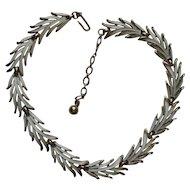 Vintage Trifari Necklace WHITE Enamel Leaves Holiday Ready