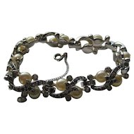 Vintage JOMAZ Bracelet Signed Black Diamonds Cultured Pearls 1950's