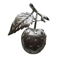 Vintage Crown Trifari  STRAWBERRY Fruit  Modern Silver Tone 1960's Pin Brooch Signed Figural 1950's