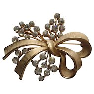 Vintage Crown Trifari FLORAL Flower BOW Rhinestone Brooch Pin Signed