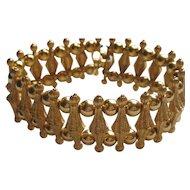 Vintage Crown Trifari Bracelet SPUN Metal Modern Gold Tone 1950's