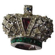 "Early Vintage Coro Craft Royal Crown  ""MINI""  Rhinestone Brooch Pin Signed"