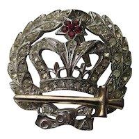 Vintage ORA Royal Crown 1940's Pendant Pin Brooch
