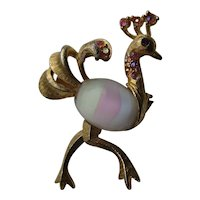 Vintage Ostrich Bird Figural Rainbow Body Jelly Belly 1940's Pin Brooch 3-D