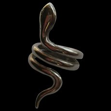 Vintage Snake Coiled Ring Long Chrome 1960's Size 5
