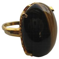 Vintage Napier Ring LARGE Cats Eye Cabochon Cocktail Ring 1960's Size 6