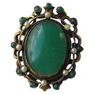 """Vintage Original by Robert Faux Jade """" HUGE"""" Faux Pearl Brooch Pin Victorian Look"""