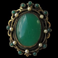 "Vintage Original by Robert Faux Jade "" HUGE"" Faux Pearl Brooch Pin Victorian Look"