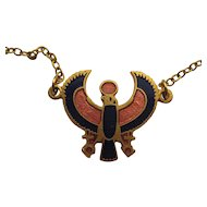 Vintage Egyptian Revival SIGNED Necklace God HORUS MMA Petit