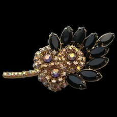 Vintage Beautiful D@E Julianna Black AB Rhinestone Leaf Brooch Pin