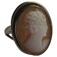 Vintage Cameo 1920's Sterling Ring Petit Size 5