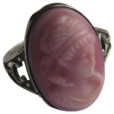Vintage Pink Cameo Sterling Silver Milk Glass Ring Size 7.5
