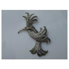 Vintage Fancy Bird Sterling Silver 925 Marcasites Garnet Pin Brooch
