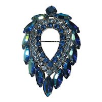 Vintage Sarah Coventry Brooch Blue Lagoon Pin Brooch D&L Delizza and Elster