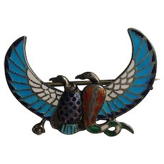 Vintage Egyptian Revival SIGNED  Silver Falcons Enamel Style Pin Brooch 1880's