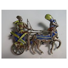 Vintage Egyptian Revival Chariot Horses Figural SIGNED Silver Enamel Style Pin Brooch 1880's