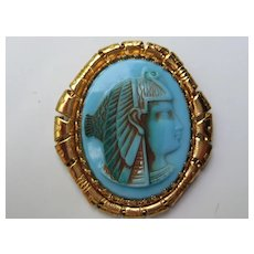 Vintage Egyptian Revival Figural Faux Turquoise Glass Pin Pendent Whiting Davis