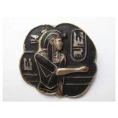 Vintage Egyptian Art Deco Revival Pharaoh Figural Black Enamel Pin Brooch 1920's