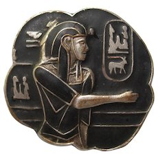Vintage Egyptian Art Deco Revival Pharaoh Figural Black Enamel Pin Brooch 1920's