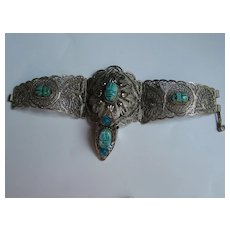 Vintage Egyptian Revival Scarab LARGE  Filigree  Bracelet Ring Faux Turquoise German Silver 1950's