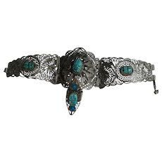 Vintage Egyptian Revival Scarab LARGE  Filigree  Bracelet Ring Faux Turquoise German Silver 1950's