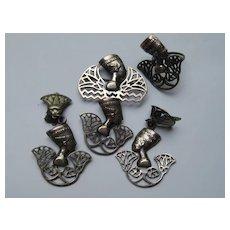 Vintage Egyptian Revival Nefertiti Figural Silver 2 Pins Ring Dangle Clip Earrings Art Deco 1920's