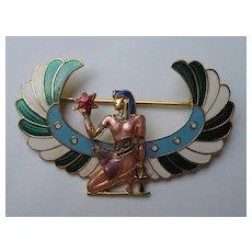 Vintage Egyptian Revival Pharaoh Enamel Realistic Pin Brooch