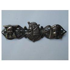 Vintage Egyptian Revival Pharaoh Sphinx Figural Pin