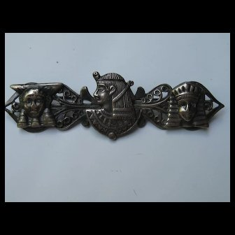 Vintage Egyptian Revival Pharaoh Sphinx Figural Pin