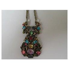 Vintage Hollycraft Necklace PASTEL Signed 1950