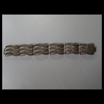 Vintage Mexico Taxco RUBENS Bracelet  Silver 1930's Arts and Crafts Style Beautiful