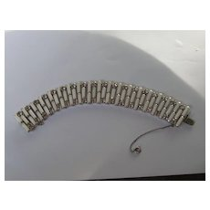 Vintage Weiss Bracelet Signed White Baguette Rhinestone 1960's
