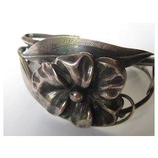 Vintage Arts and Crafts Bracelet Cuff Sterling Silver 1930's Flower Floral