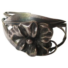 Vintage Arts and Crafts Bracelet Cuff Sterling Silver 1930's Flower Floral