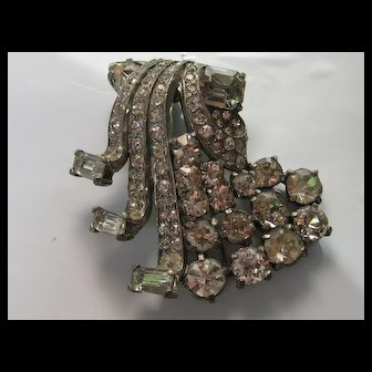 Vintage Eisenberg Original Waterfall Ribbon Art Deco Fur Clip Rhinestone Brooch