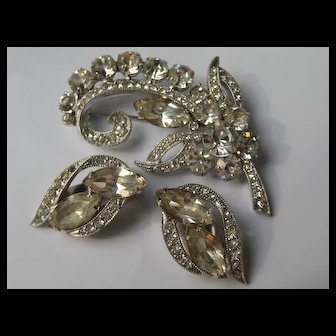 Vintage Eisenberg Ice Rhinestone Brooch and Earrings 1950's