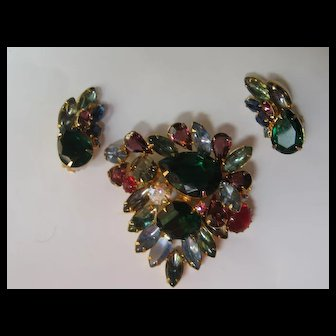 Vintage Juliana DeLizza & Elster Brooch Pin Earrings 1960's Fall Colors