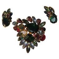 Vintage Juliana DeLizza & Elster Brooch Pin Earrings 1960's Fall Colors