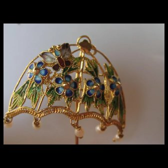 Vintage China UMBRELLA 925 Sterling Seed Pearl Butterfly Floral  Enamel Pendent Pin Brooch