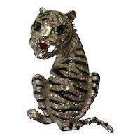 Vintage KJL Kenneth J. Lane Tiger Rhinestone  Figural Realistic Brooch Pin