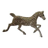 Vintage Coro Signed HORSE Pave Rhinestones Silver Rhodium Figural Pin
