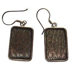Vintage Chinese Asian 925 Sterling Silver Pierced Earrings