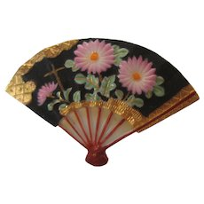 Vintage Toshikane Japan Fan Mums Floral Fan Pin BEAUTIFUL