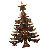 Vintage Eisenberg Ice Christmas Tree Rhinestone Brooch pin