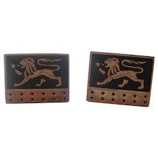 "Vintage Swank Cuff Links Figural REGAL LION Black Enamel Goldtone Cufflinks 1960""s"