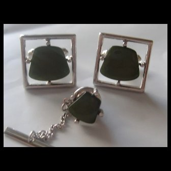 Vintage Sarah Coventry Cuff Links Tie Tac Green Lucite Cufflinks