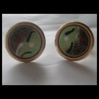 Vintage Mid Century Cuff Links Abstract Enamel 1950's Cufflinks